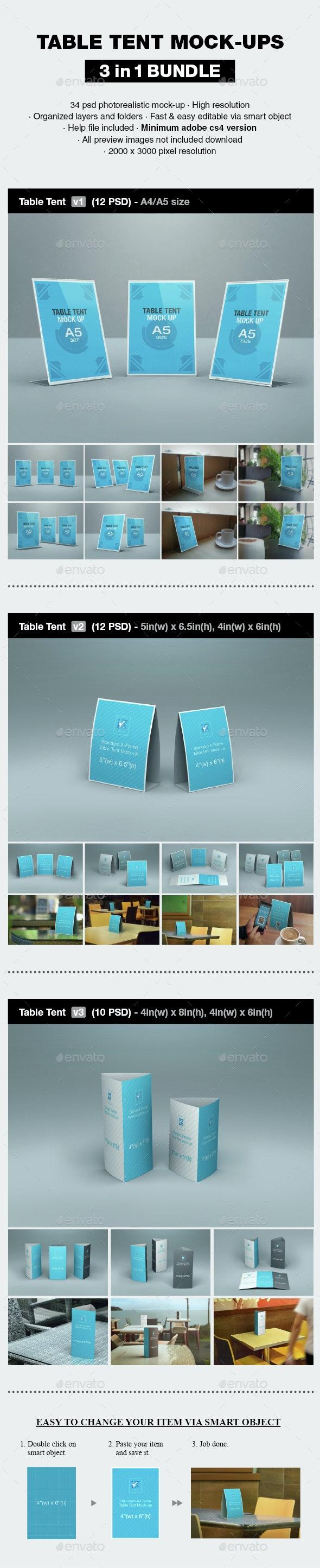 Table Tent Mock-up Bundle - Print Product Mock-Ups