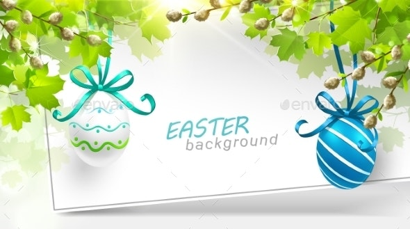Easter Decoration With Leaves - Seasons/Holidays Conceptual