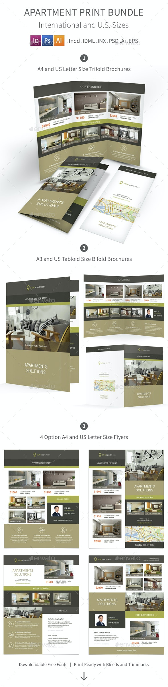 Apartment For Rent Print Bundle 2 - Informational Brochures