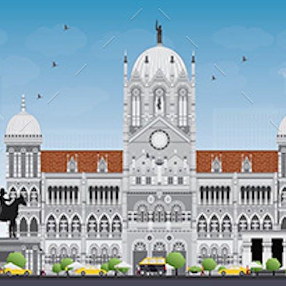 Mumbai Skyline with Gray Landmarks and Blue Sky.