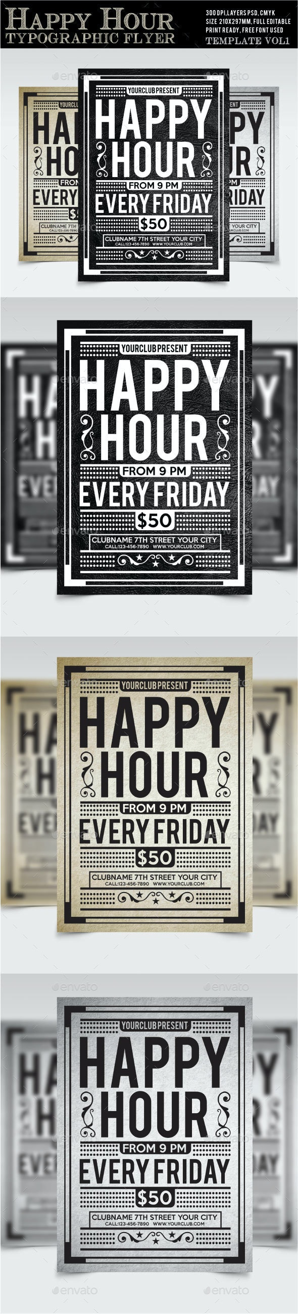 Happy Hour Flyer Vol1 - Holidays Events