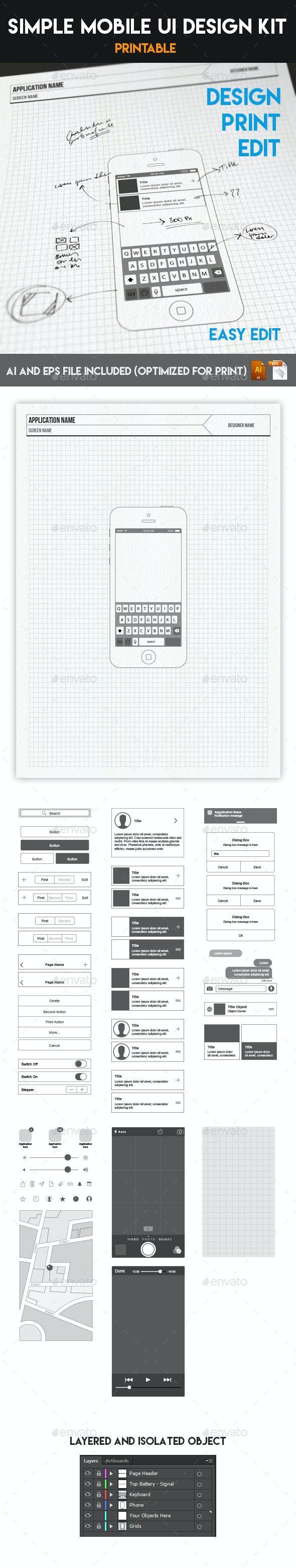 Simple Mobile UI Wireframe Design Kit (Print & Edit) - User Interfaces Web Elements