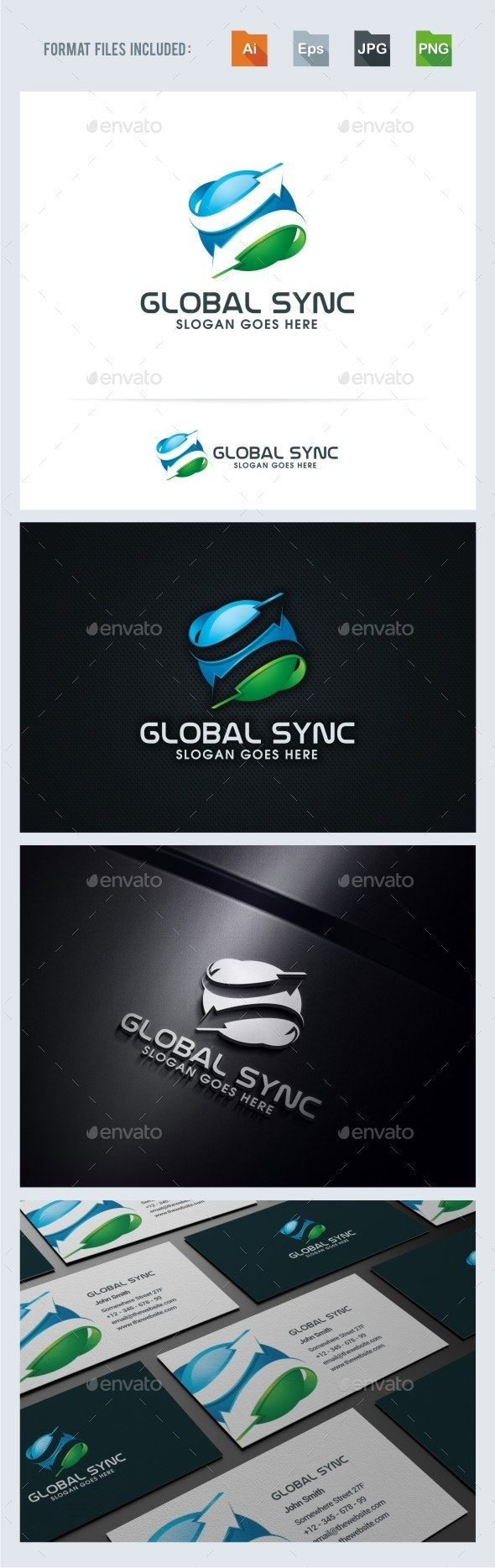 Global Sync Logo Template - 3d Abstract