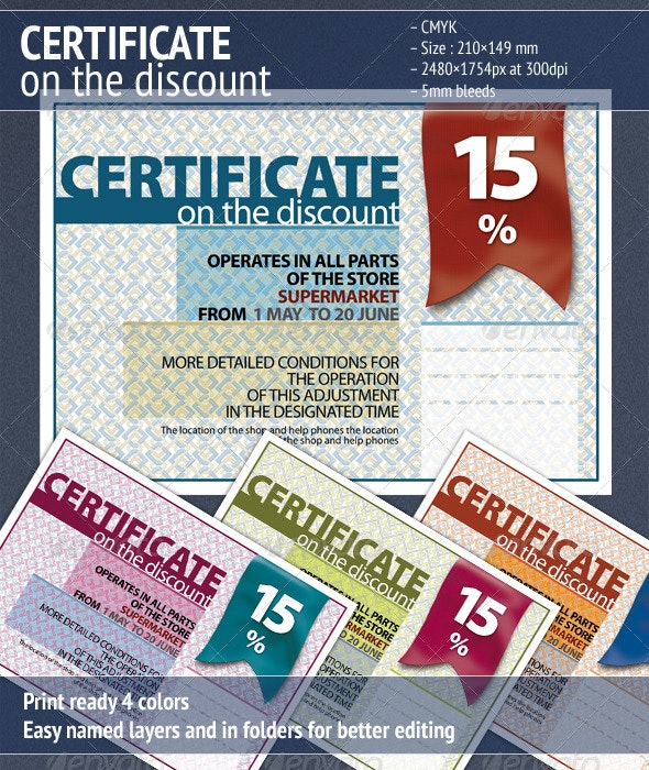 Certificate on the Discount 2 - Certificates Stationery