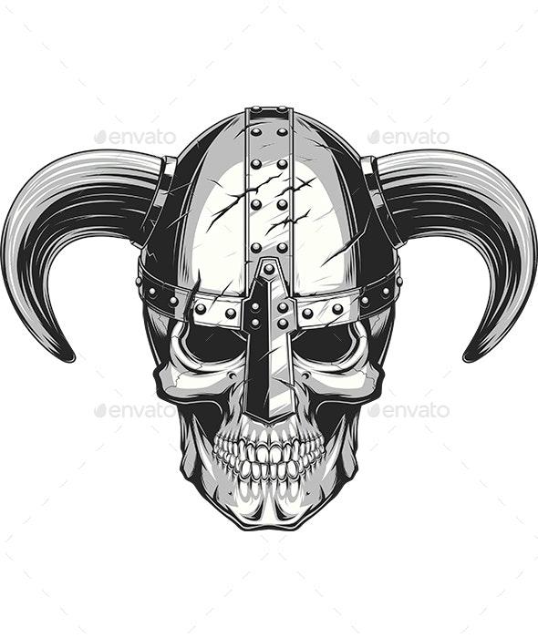 Viking Skull in Helmet - Tattoos Vectors