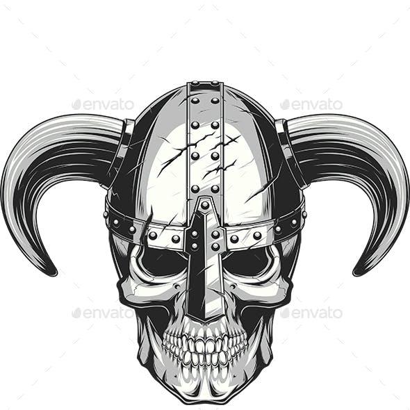 Viking Skull in Helmet