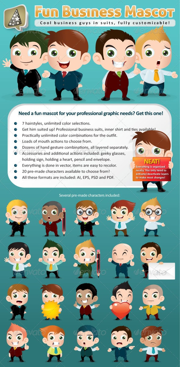 Fun Business Mascot Creation Kit - Characters Vectors