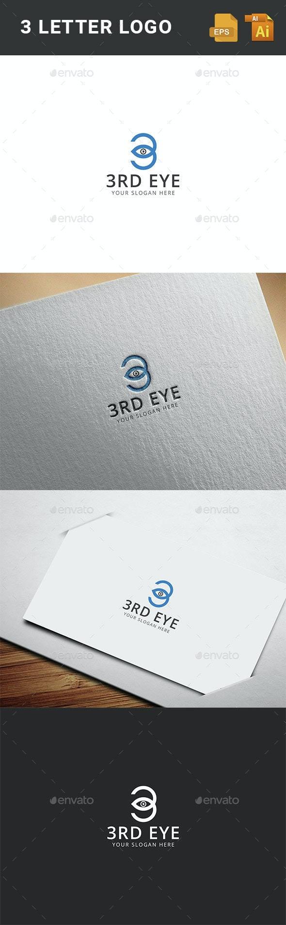 3 EYE Logo Template  - Numbers Logo Templates