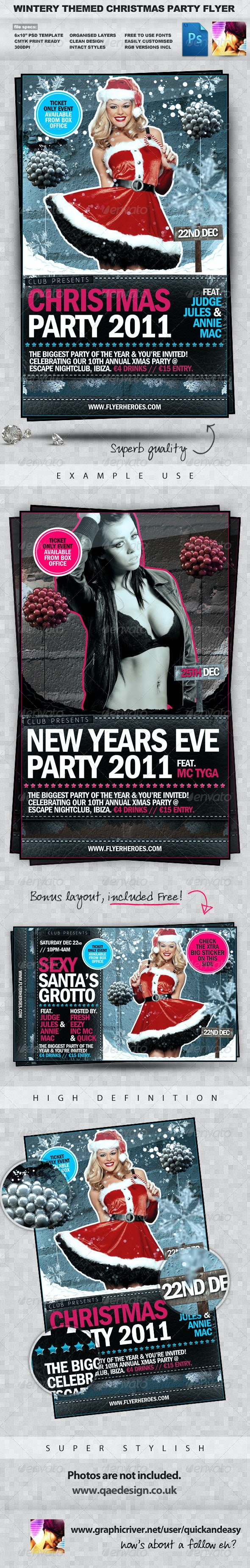 Wintery Christmas & New Years Eve PSD Party Flyer  - Clubs & Parties Events
