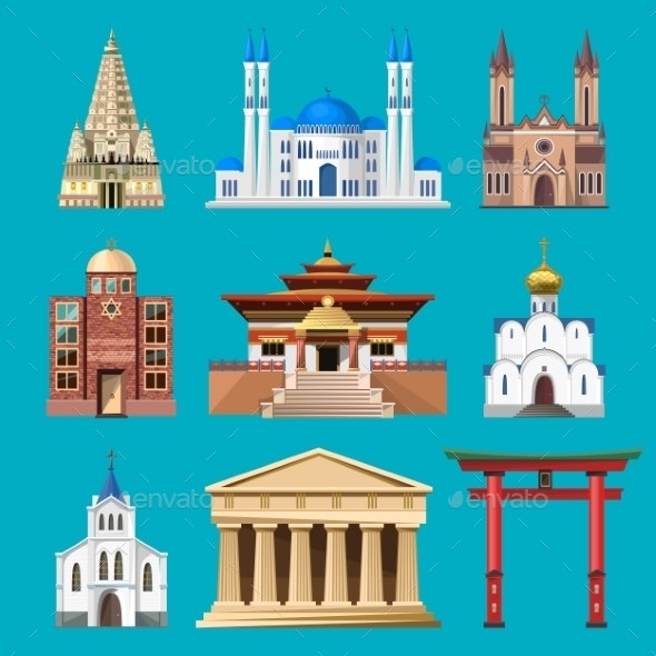 Cathedrals, Churches And Mosques Building Vector - Religion Conceptual