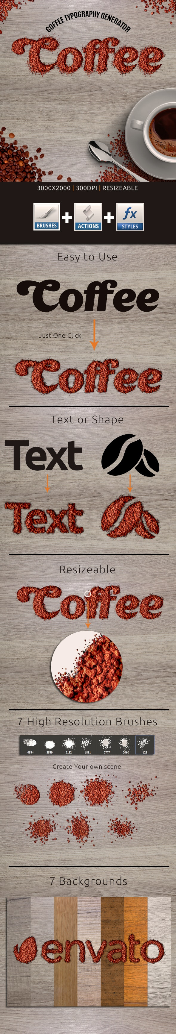 Coffee Typography Action - Actions Photoshop