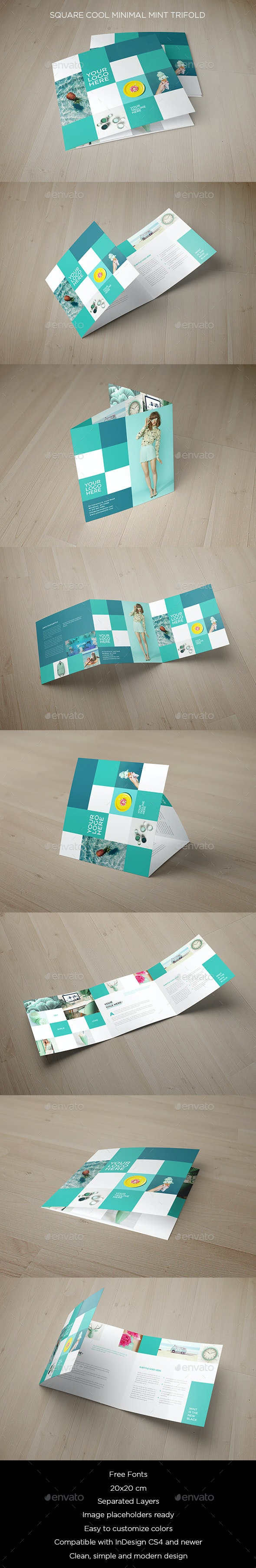 Square Cool Minimal Mint Trifold - Brochures Print Templates
