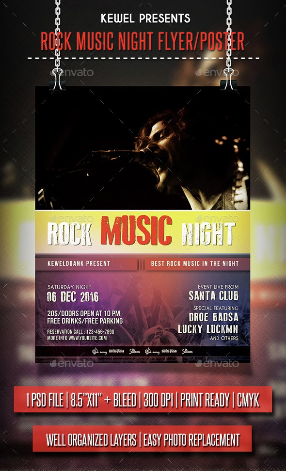 Rock Music Night flyer / Poster - Events Flyers