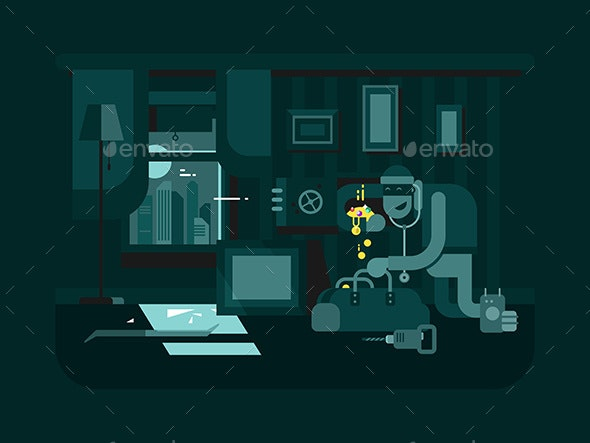 Burglar in an Apartment - Miscellaneous Vectors