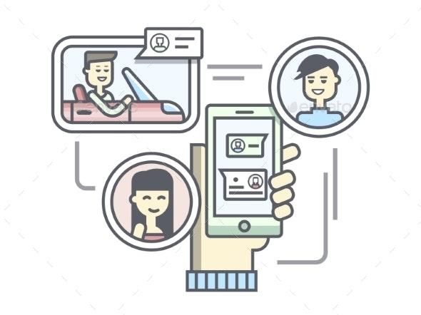 Mobile Communication Flat Linear Design - Web Technology