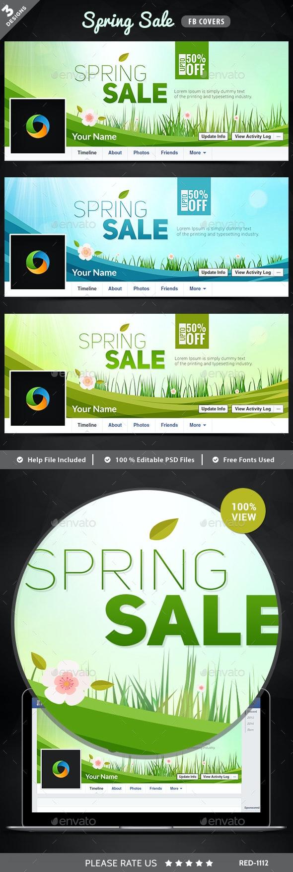 Spring Sale Facebook Covers - 3 Designs - Facebook Timeline Covers Social Media