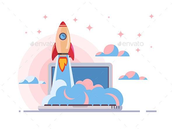 Web Start Up Flat Style - Web Technology