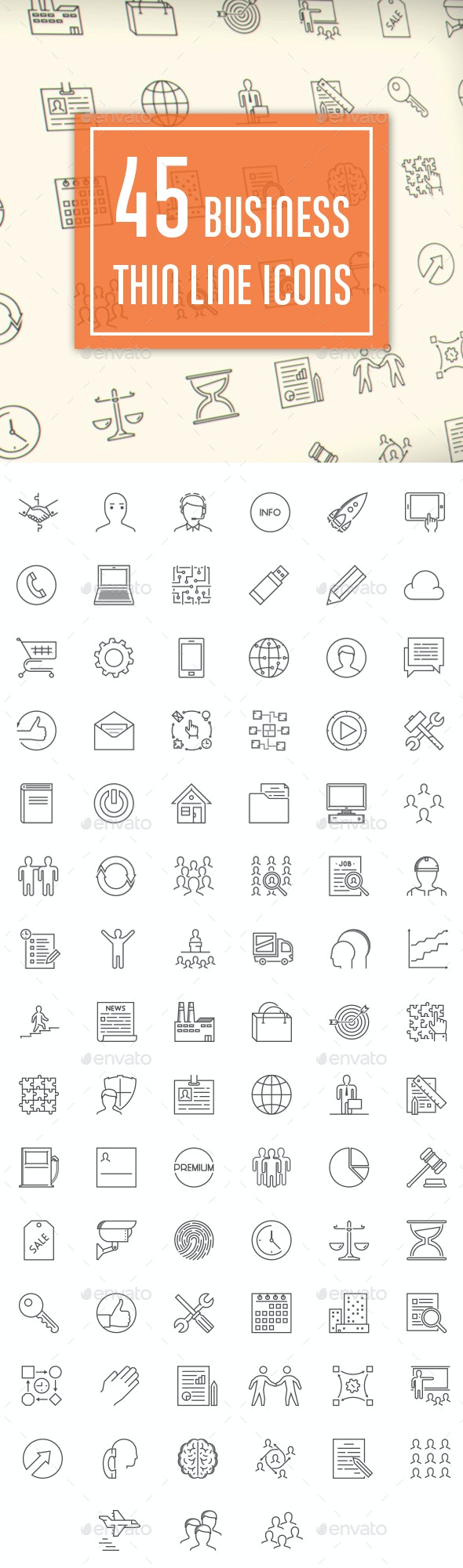 45 Business Thin Line Icons - Icons