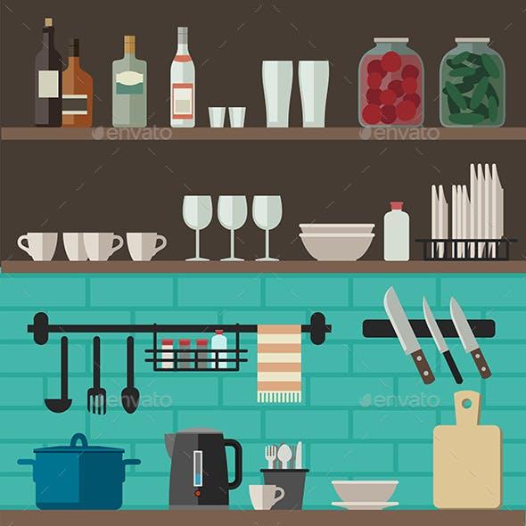 Cooking Utensils on Shelves