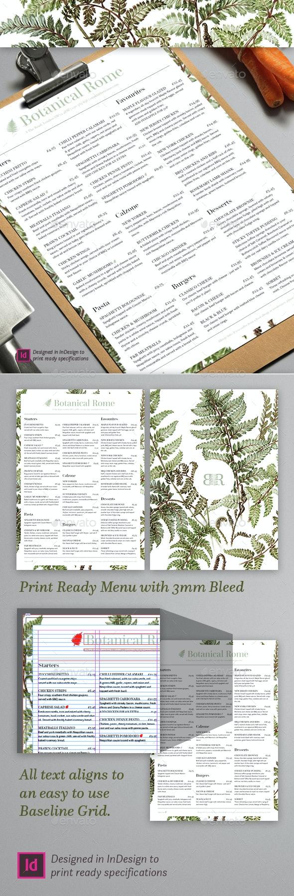 Botanical Restaurant Menu - Restaurant Flyers