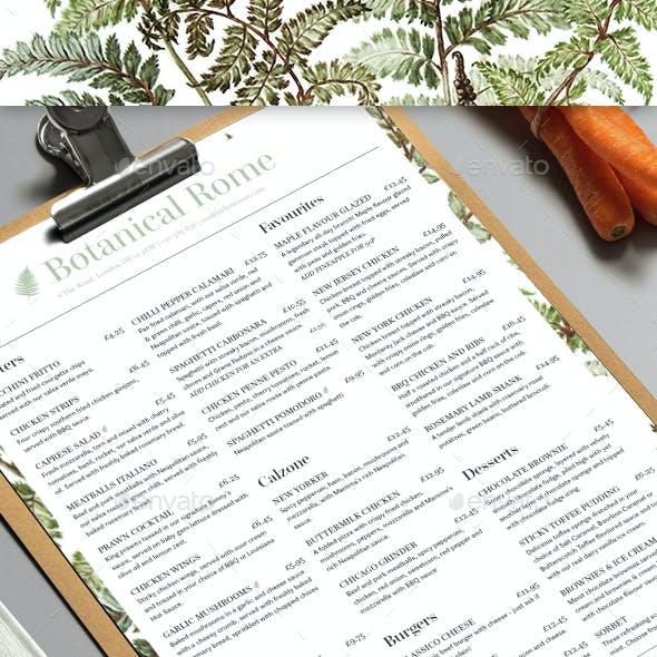 Botanical Restaurant Menu