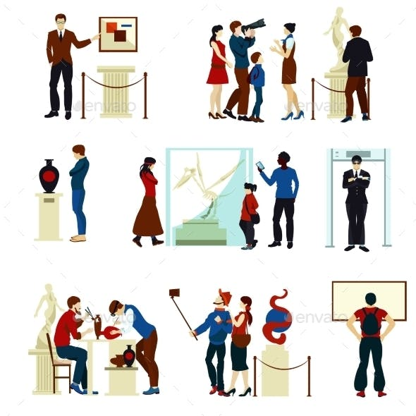 People in Museum Gallery Color Icons