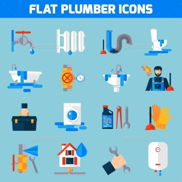 Plumber Service Flat Icons Set  - Objects Icons
