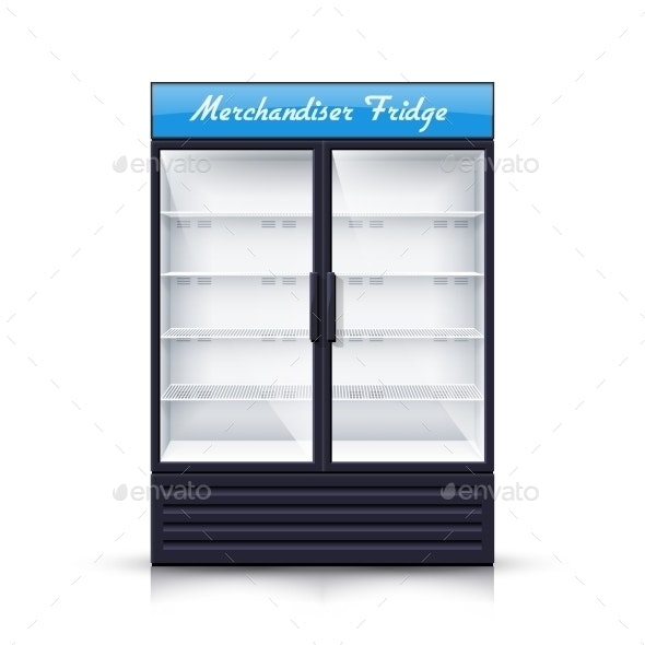 Two Panels Empty Fridge Realistic Illustration - Retail Commercial / Shopping