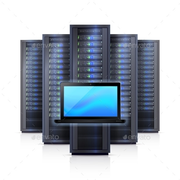Server Rack Laptop Realistic Isolated Illustration - Computers Technology