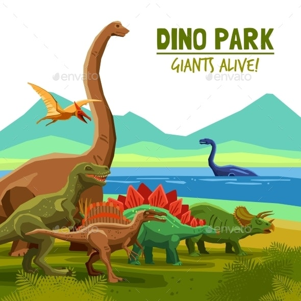 Dino Park Poster - Monsters Characters