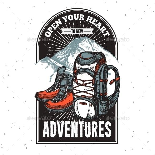 Adventure Lettering Emblem Print - Backgrounds Decorative