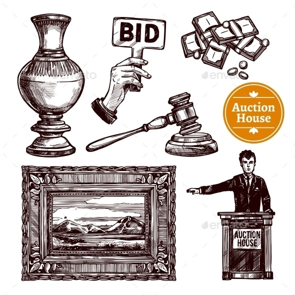 Hand Drawn Auction Set - Industries Business