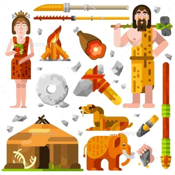 Prehistoric Stone Age Caveman Icons - Decorative Symbols Decorative