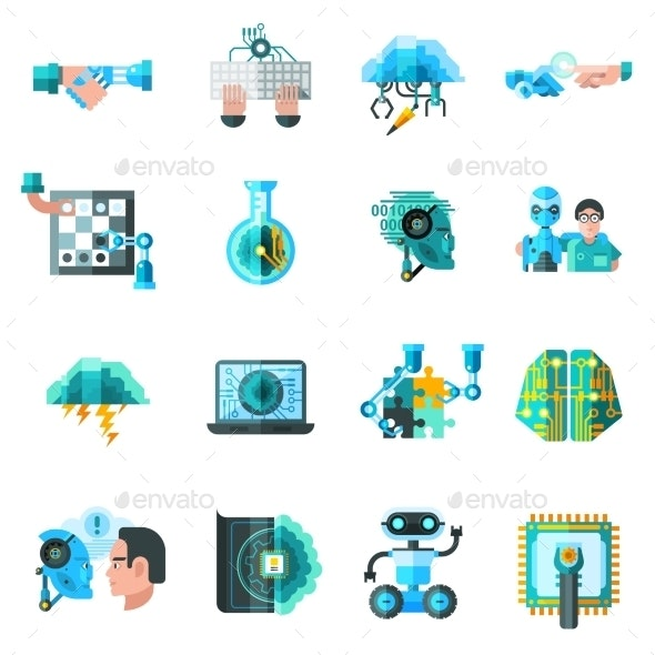 Artificial Intelligence Icons Set  - Computers Technology