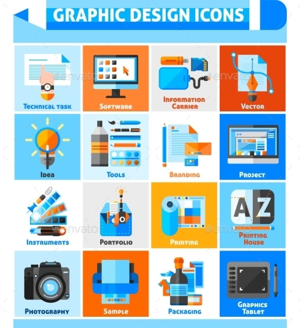 Graphic Design Icons Set  - Computers Technology