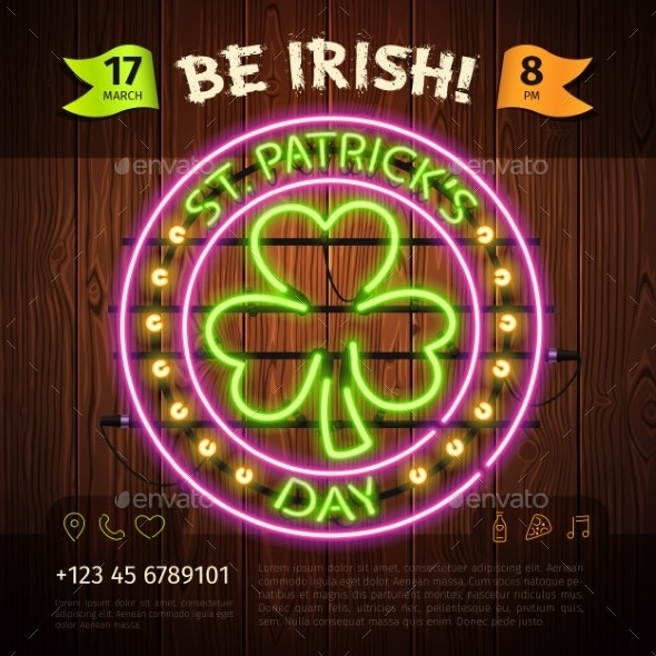 St Patricks Day Round Neon Sign - Decorative Symbols Decorative