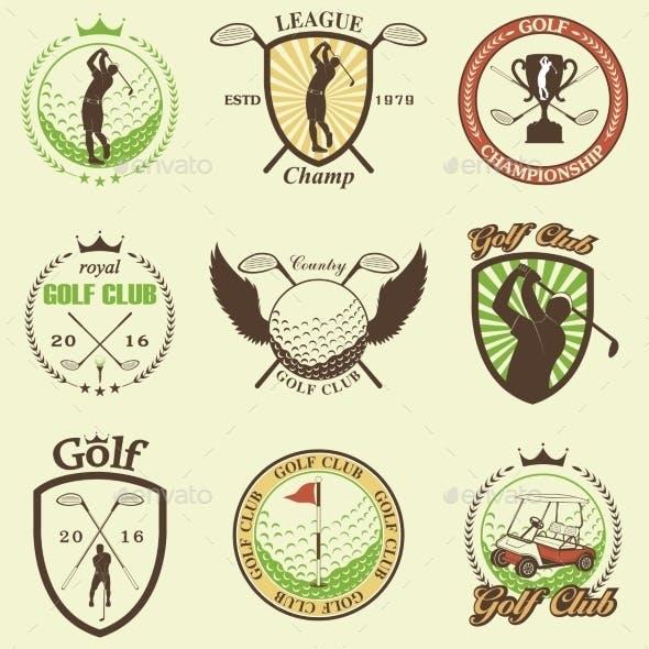 Golf Labels, Badges and Emblems