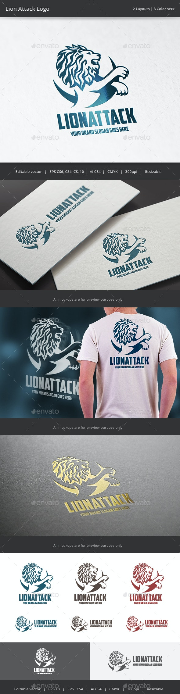 Lion Attack Logo - Animals Logo Templates