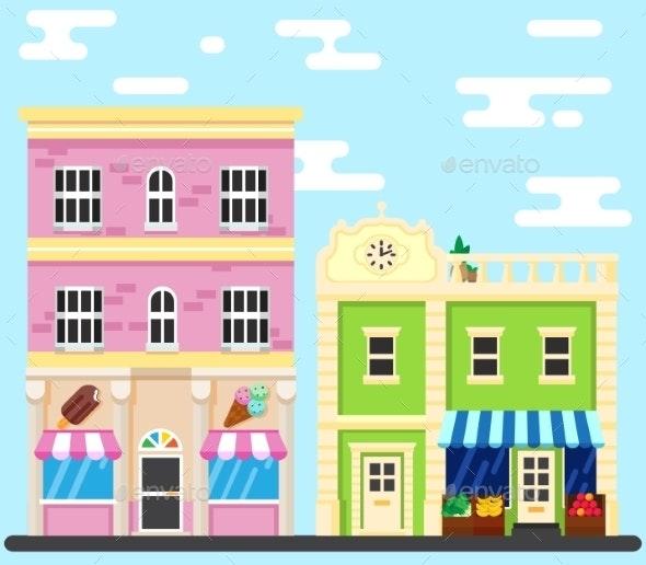 City Street Building Shops - Buildings Objects