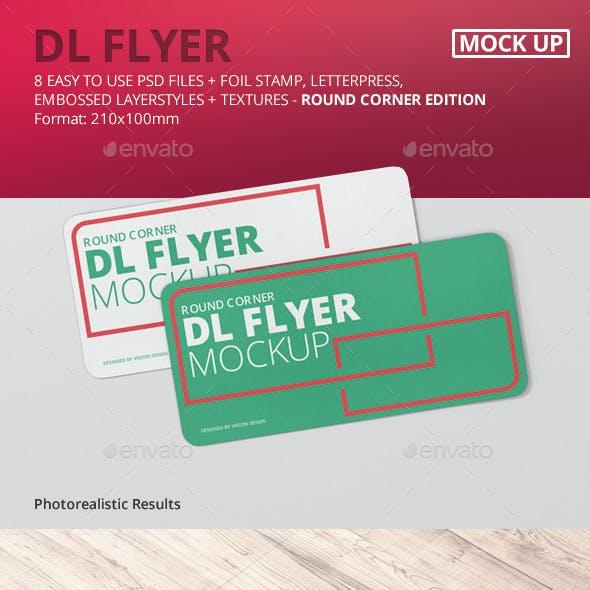 DL Horizontal Flyer Round Corner Mockup