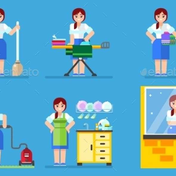 Woman Washing and Cleaning Household Series