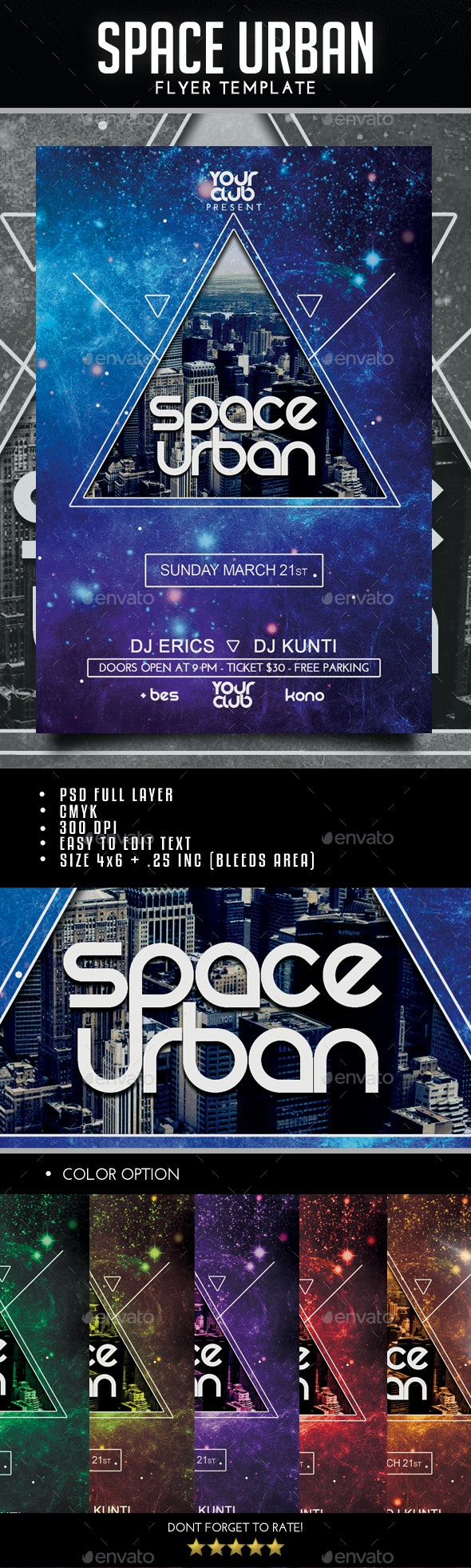 Space Urban/Minimal Flyer - Clubs & Parties Events