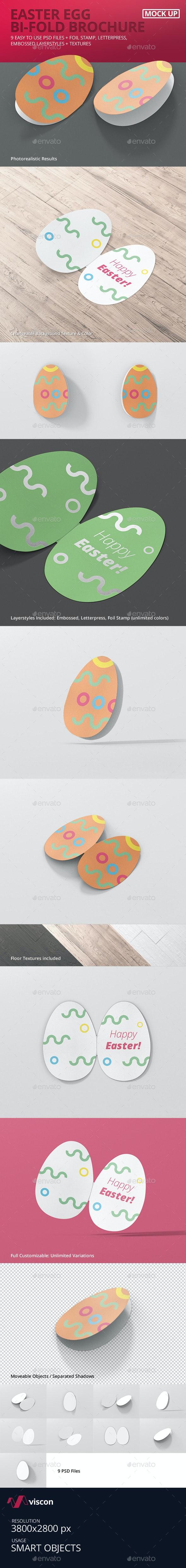 Easter Egg Bi-Fold Brochure Mockup - Brochures Print