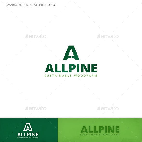 Allpine Fir Tree Letter A Logo Template