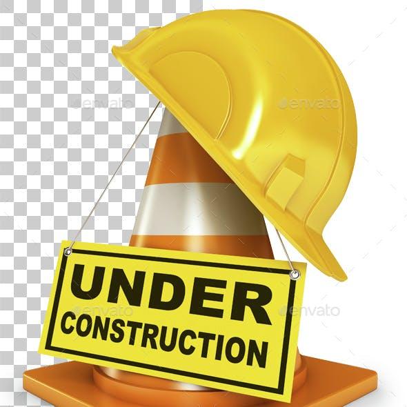 Helmet for builder worker. 3d render