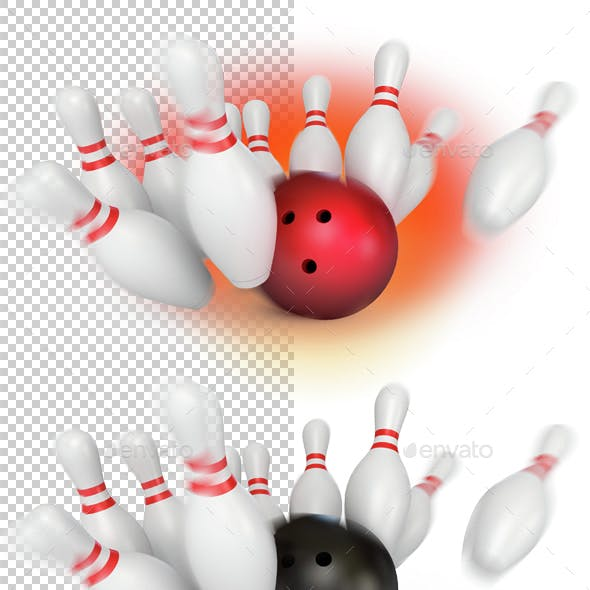 Bowling ball crashing into the pins. 3d render