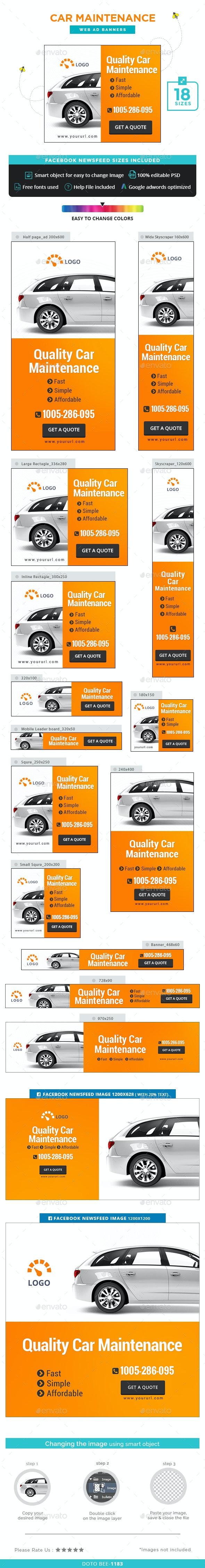 Car Maintenance Banners - Banners & Ads Web Elements