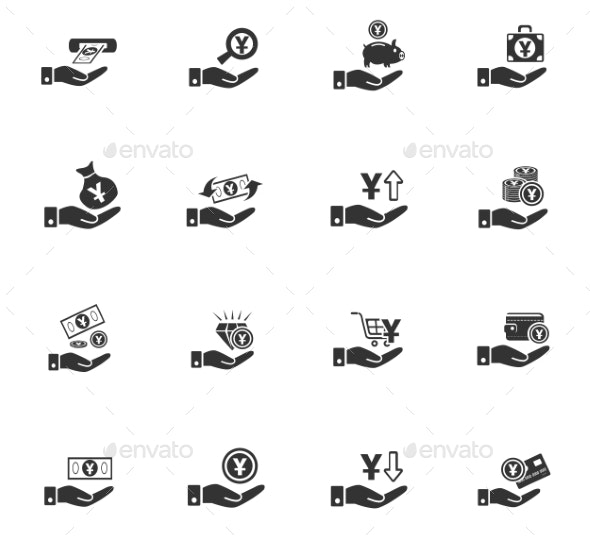 Hand And Money Icon Set - Miscellaneous Icons