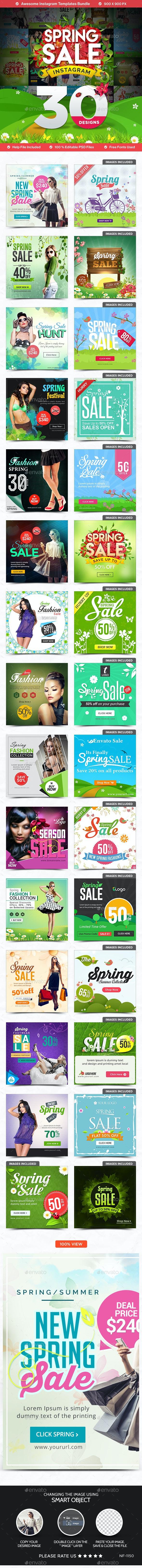 Spring Sale Instagram Templates - 30 Designs - Banners & Ads Web Elements