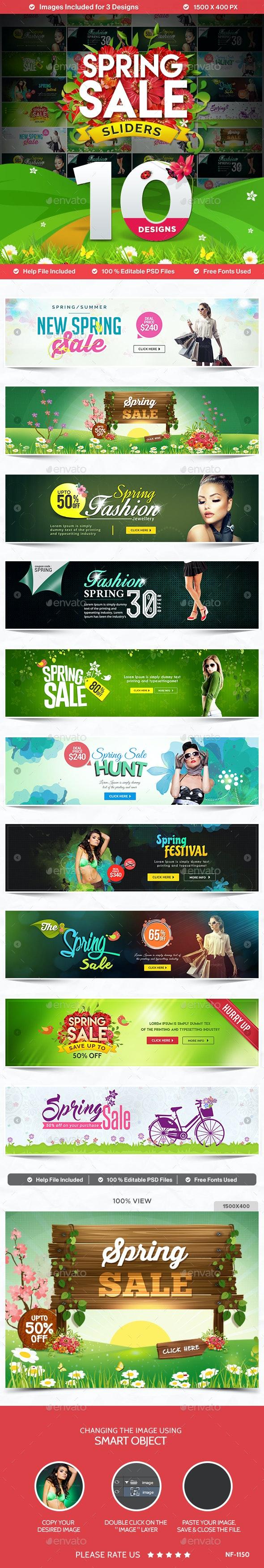 Spring Sale Sliders - 10 Designs - Sliders & Features Web Elements